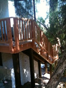 redwood stairs on a pressure treated frame