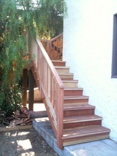 stairs run along two sides of the home