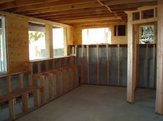 new windows and framing around footings for maximum usable space