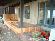 covered exterior footings in redwood