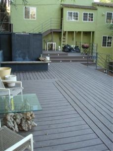 low voltage lighting on risers, stairs and to accent the railing at night