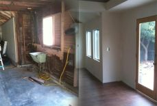 before and after of a double-long garage conversion; two garages back-to-back