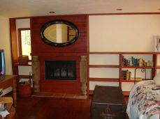 new bookcases and mantel