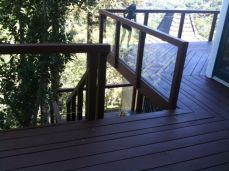 new tempered glass and redwood railing