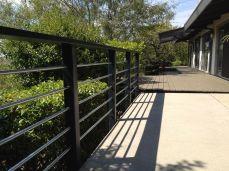 galvanized steel tubing and redwood railing
