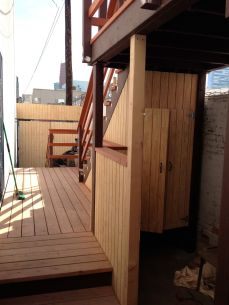 add a side deck, stairs to the top deck and a serving area