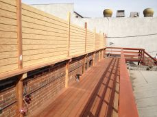 partitions installed to hide unsightly rooftop