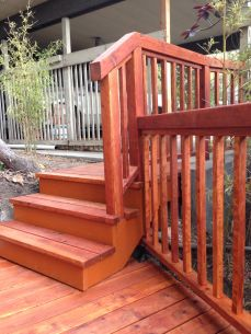 traditional redwood railing