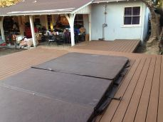decking from shower to spa to patio