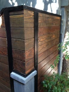 stained redwood on painted redwood frame